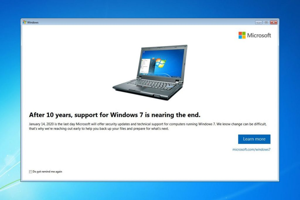 windows 7 no soporte